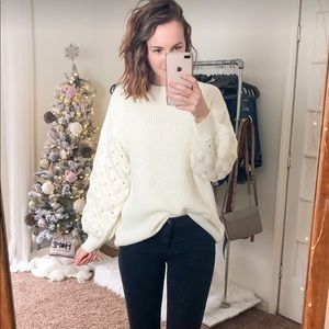 Sweaters - Ivory cream mock neck sweater puff sleeve detail